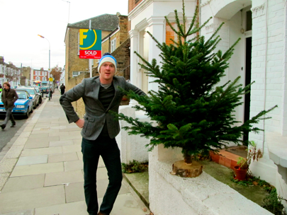 Daise with his prized Christmas tree